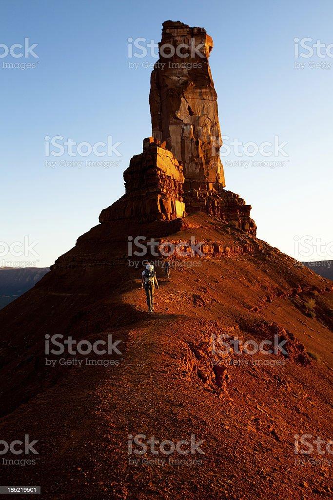 Hikers in the desert of Utah near Moab royalty-free stock photo