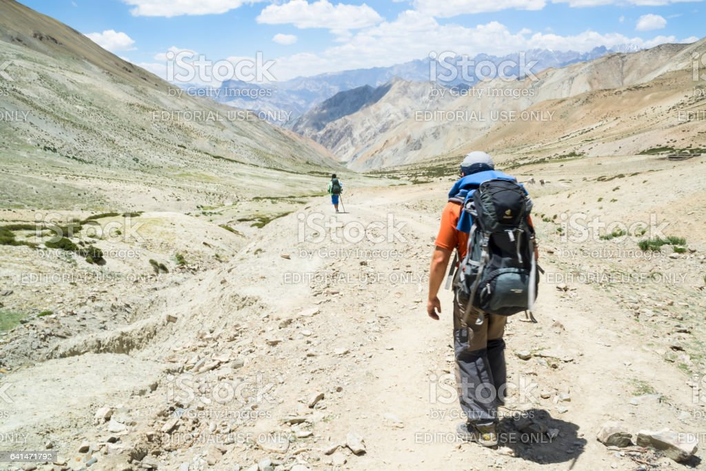 Hikers in the Markha valley (Ladakh) stock photo