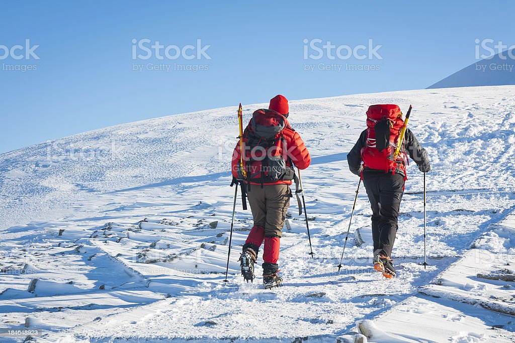 Hikers in the Mountains royalty-free stock photo