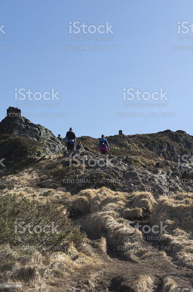 Hikers in the Vidden mountains of Bergen in Norway stock photo