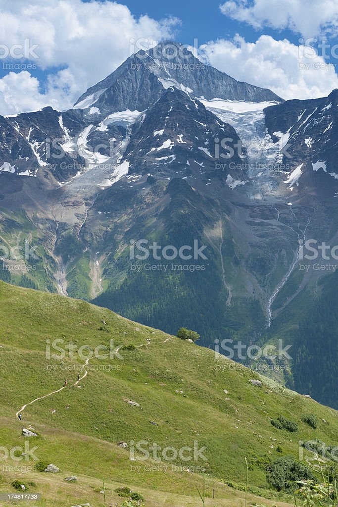 Hikers on an easy path royalty-free stock photo