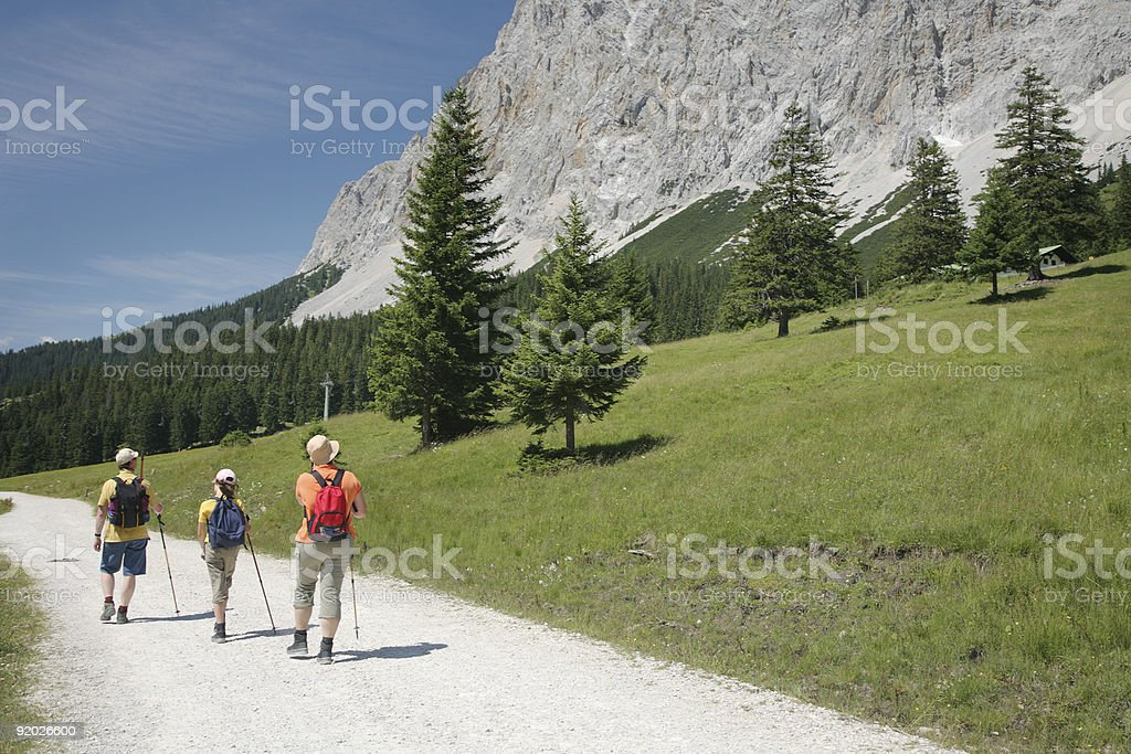 Hikers on Mountain Path royalty-free stock photo