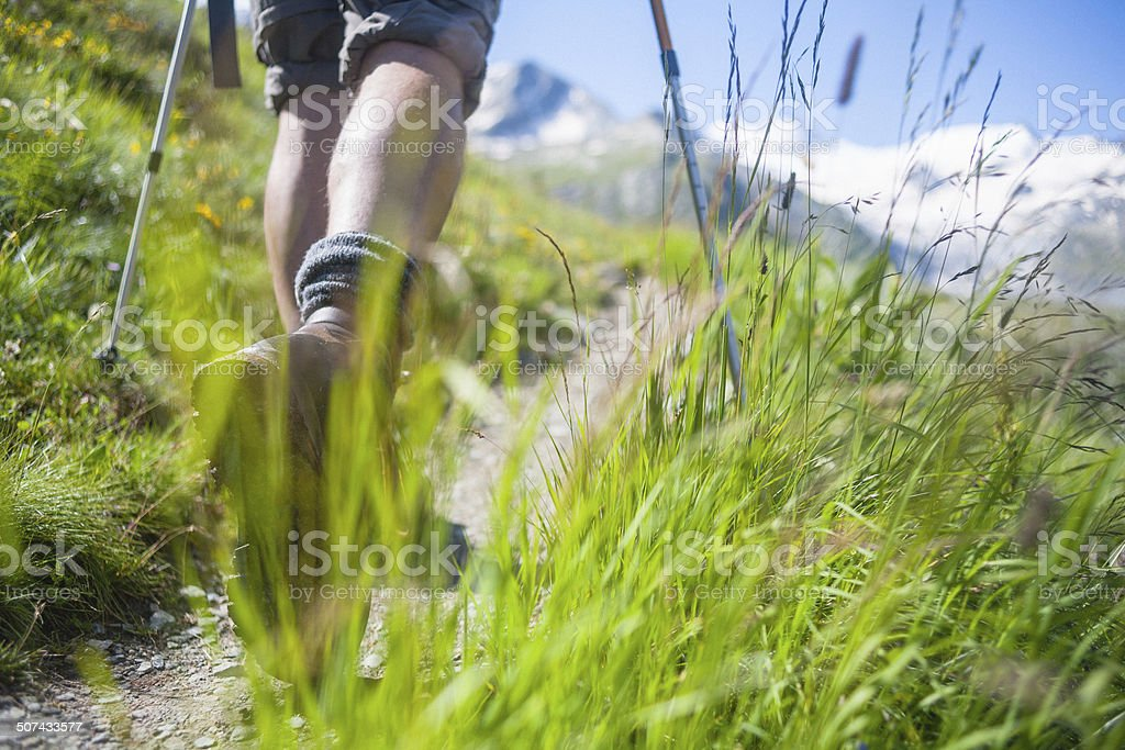 Hikers on mountain trail stock photo