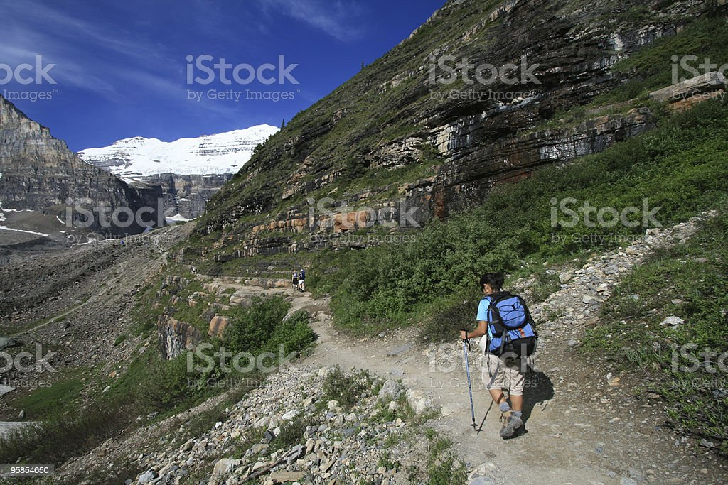 Hikers on Plain of Six Glaciers Trail royalty-free stock photo