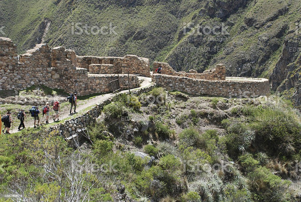 Hikers on the Inca Trail stock photo