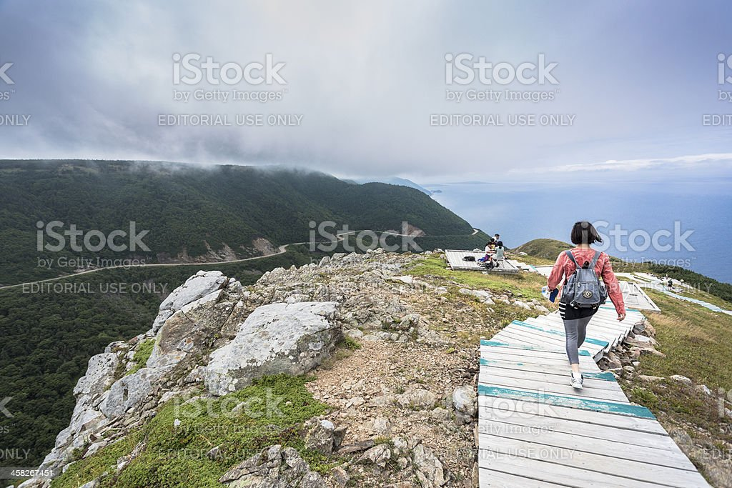 Hikers on the Skyline trail. stock photo