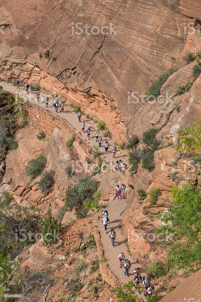 Hikers on the switchbacks of Angels Landing, Zion National Park stock photo
