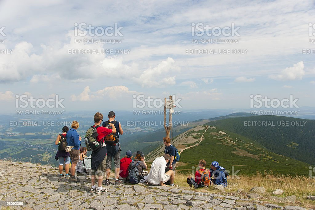 Hikers on the top of Snezka royalty-free stock photo