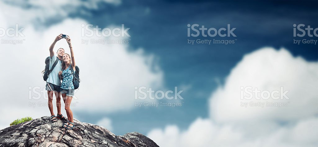 Hikers on top stock photo