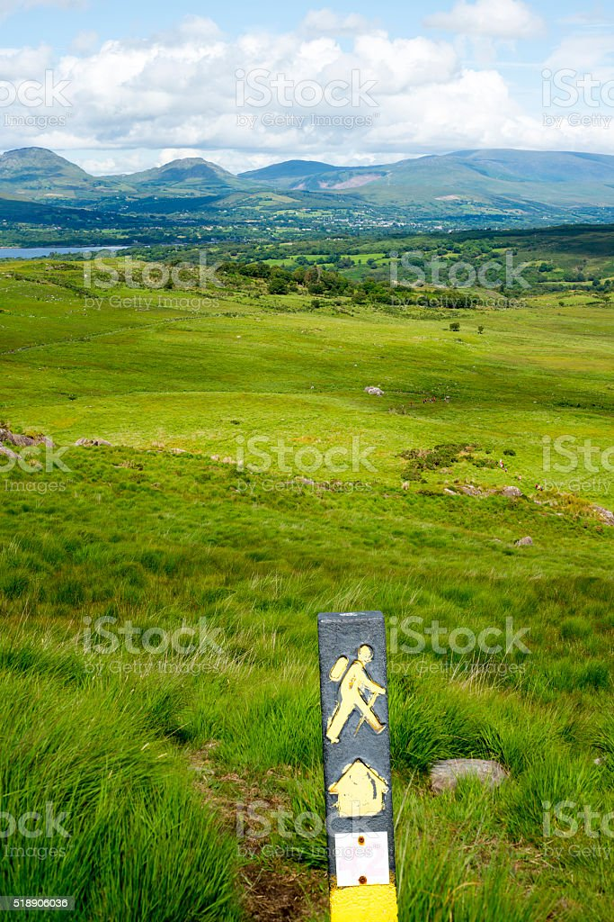 hikers signpost with mountain view stock photo
