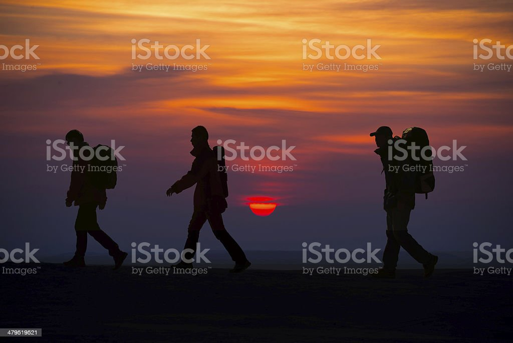 Hikers silhouette stock photo