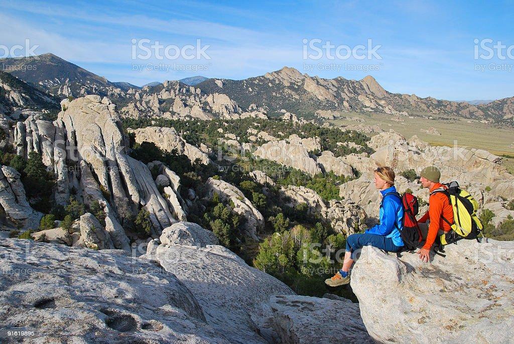 Hikers taking a break stock photo
