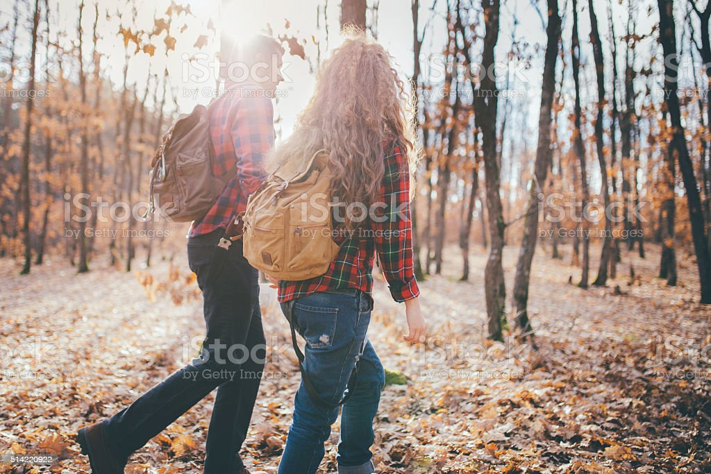 Hikers with backpacks walking in forest stock photo