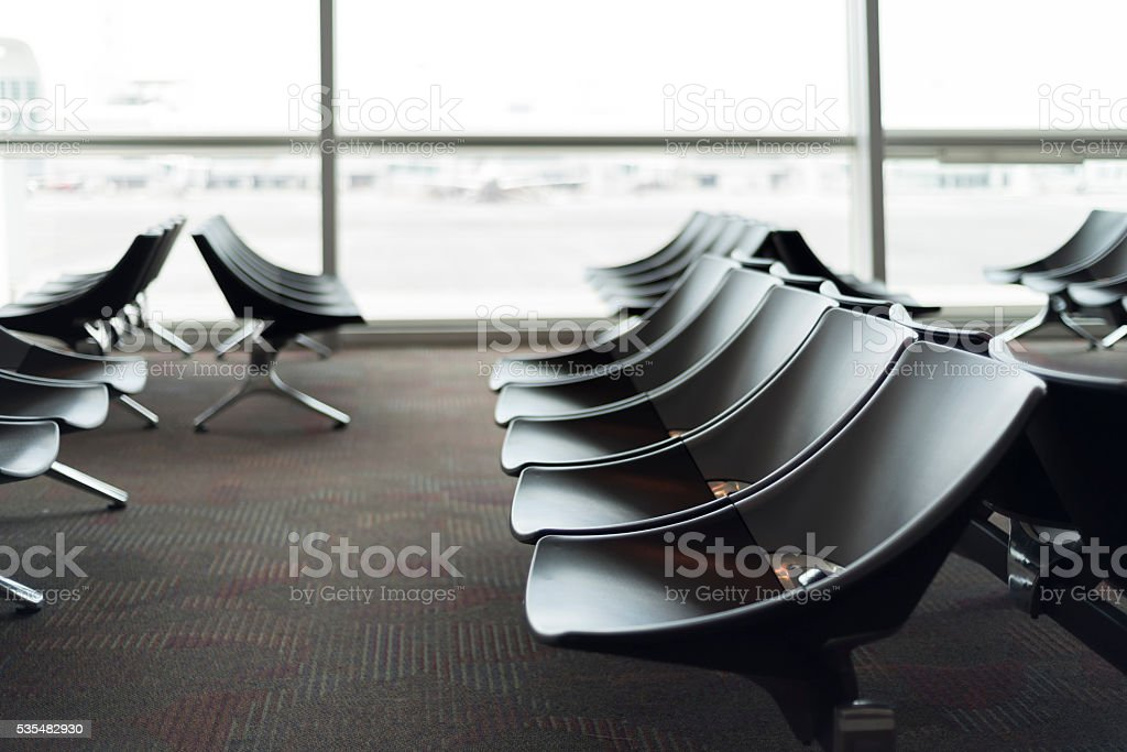 Hi-key business seats in the waiting hall stock photo