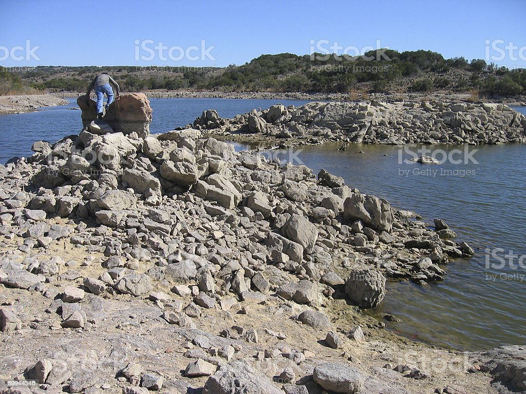 Hiking a Lake Bed - Texas stock photo