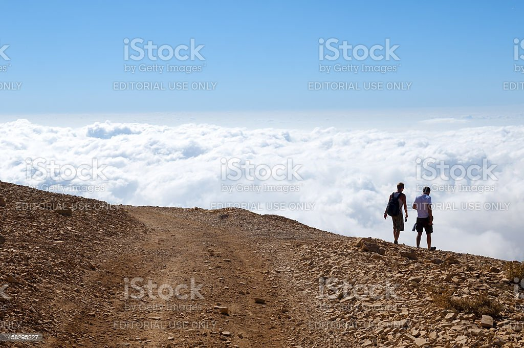Hiking above the clouds near Bcharre, Lebanon royalty-free stock photo