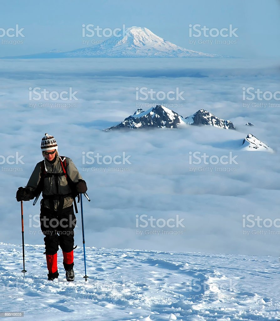 Hiking above the clouds royalty-free stock photo