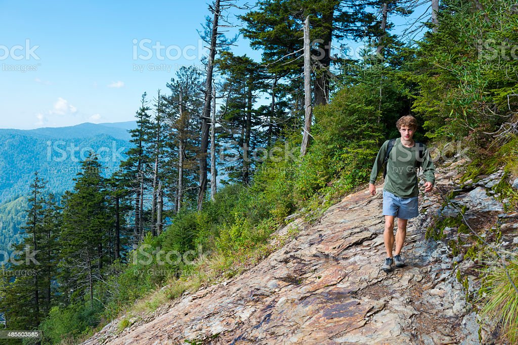 Hiking Alum Cave Trail in Great Smoky Mountains National Park stock photo