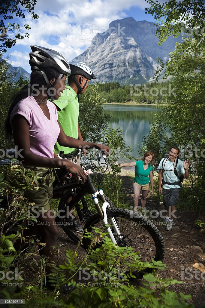 Hiking and Biking in the Mountains royalty-free stock photo