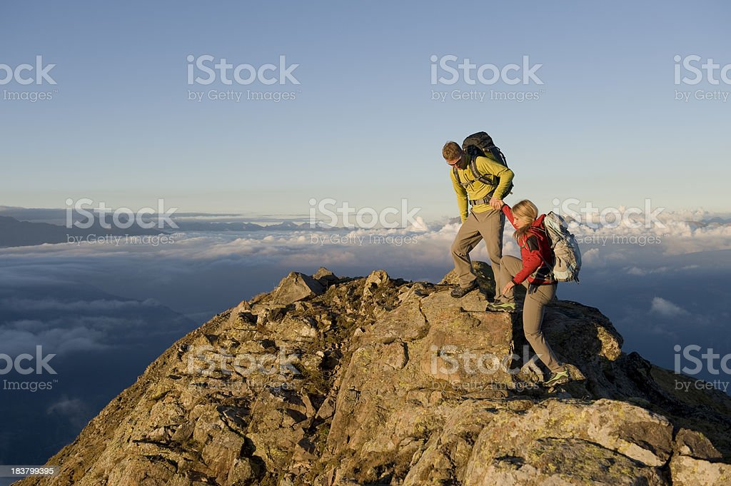 hiking and climbing a passion for life stock photo