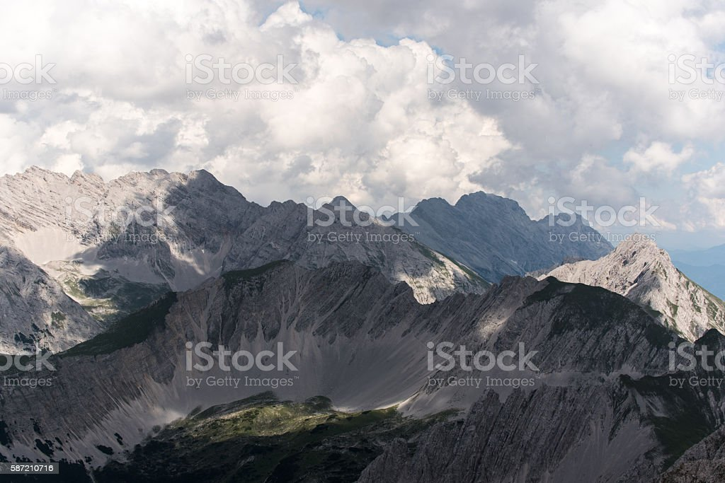 Hiking and Climbing along Insbruck Nordkette Klettersteig stock photo