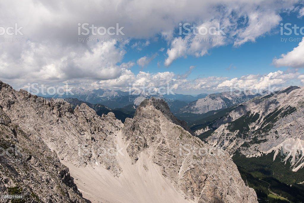 Hiking and Climbing along Insbruck Nordkette Klettersteig stock photo