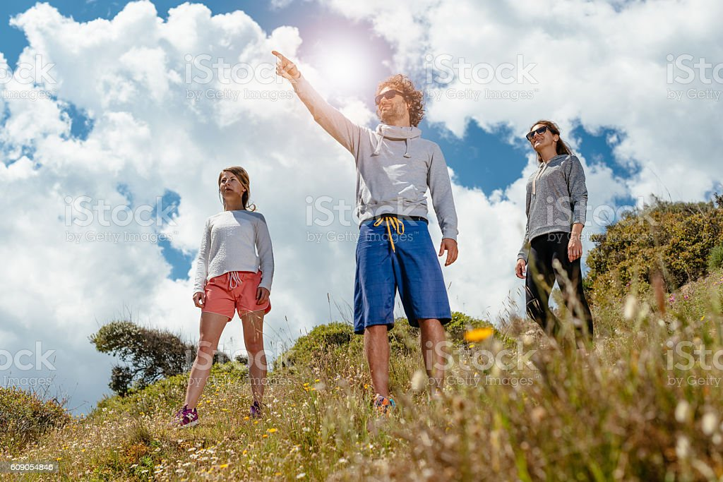 Hiking and discovering new places outdoors stock photo
