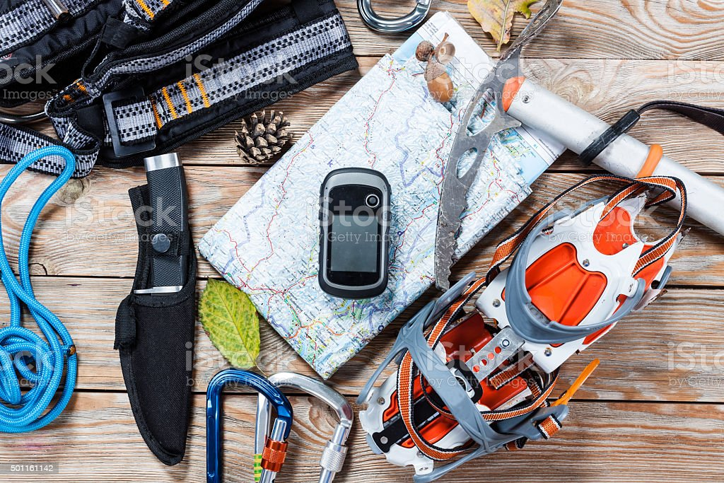Hiking and mountaineering stuff. stock photo