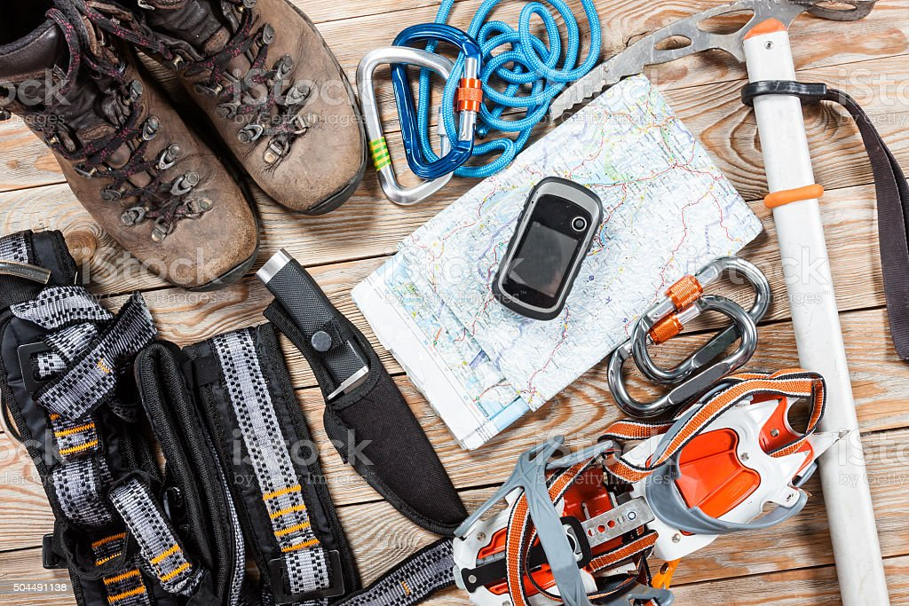 Hiking and mountaineering stuff. stock photo