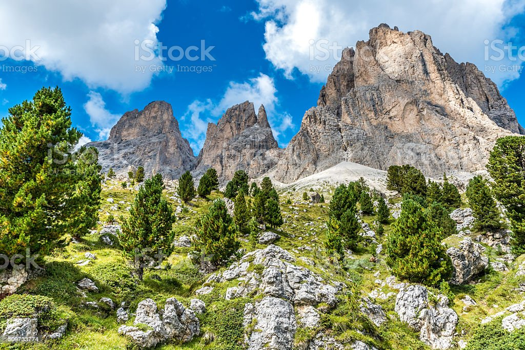 Hiking and trekking in the beautiful mountains of  Italy, Dolomites stock photo