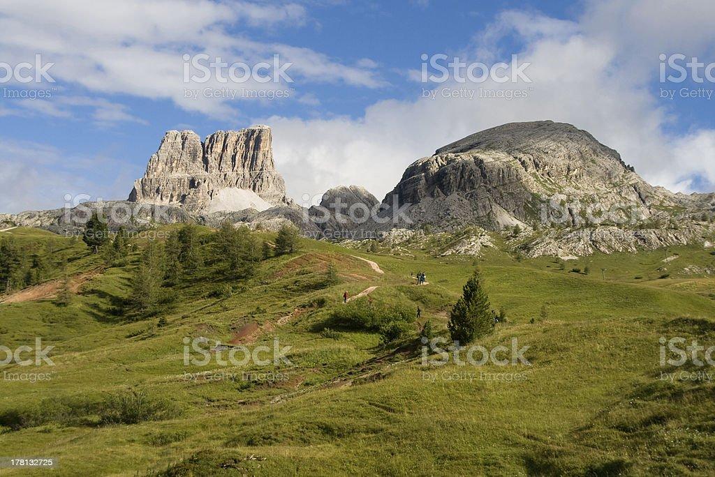 Hiking area in Dolomites stock photo