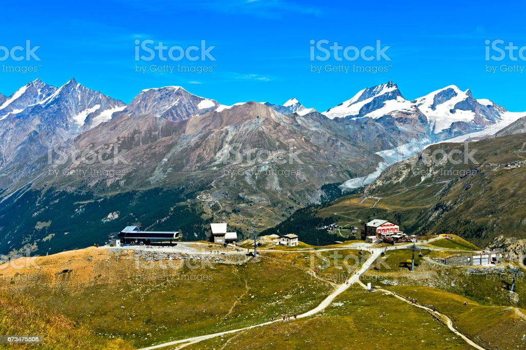 Hiking area in the Pennine Alps stock photo