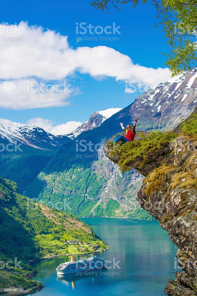 Hiking at Flydalsjuvet at Geranger fjord, Norway stock photo