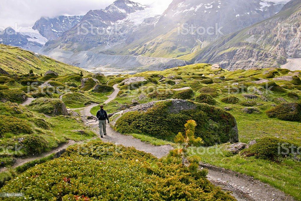 Hiking at the Matterhorn stock photo