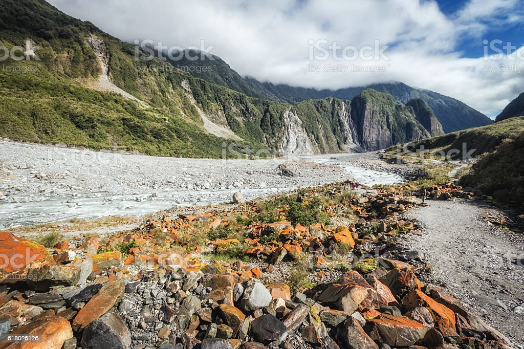 Hiking at the terrains to Franz & Fox glaciers in stock photo