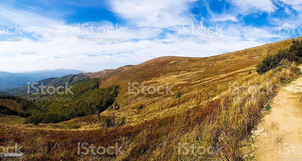 Hiking autumn trail in Bieszczady mountain. stock photo