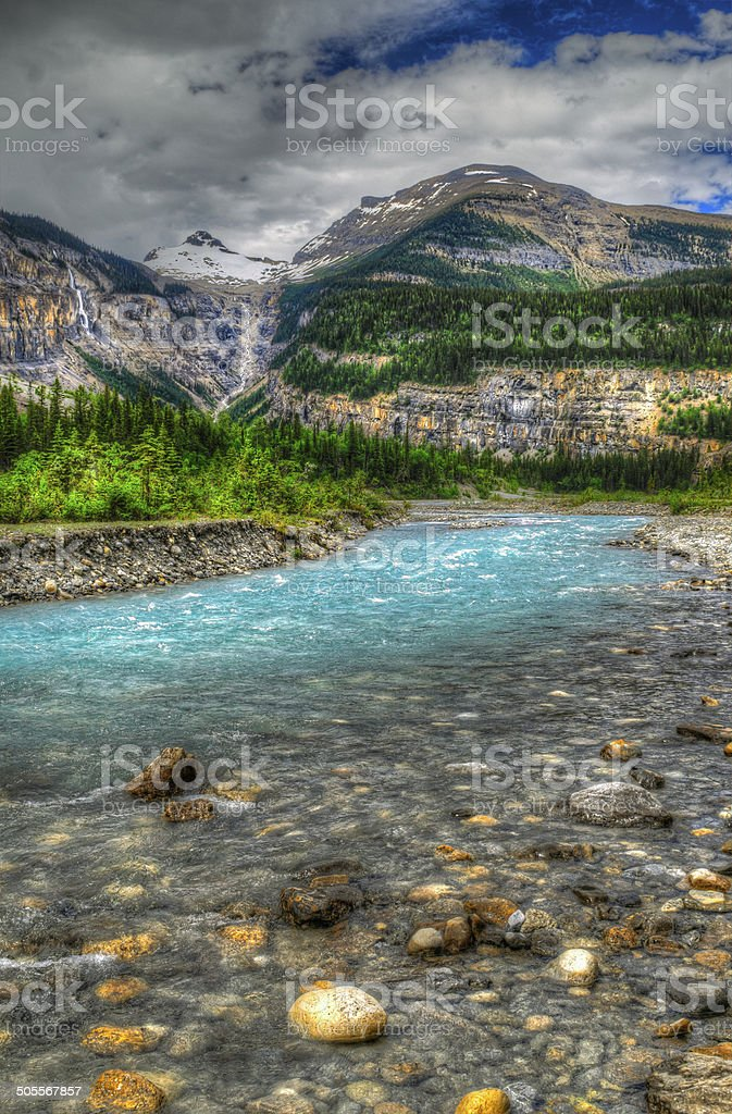 Hiking Berg Lake Trail stock photo
