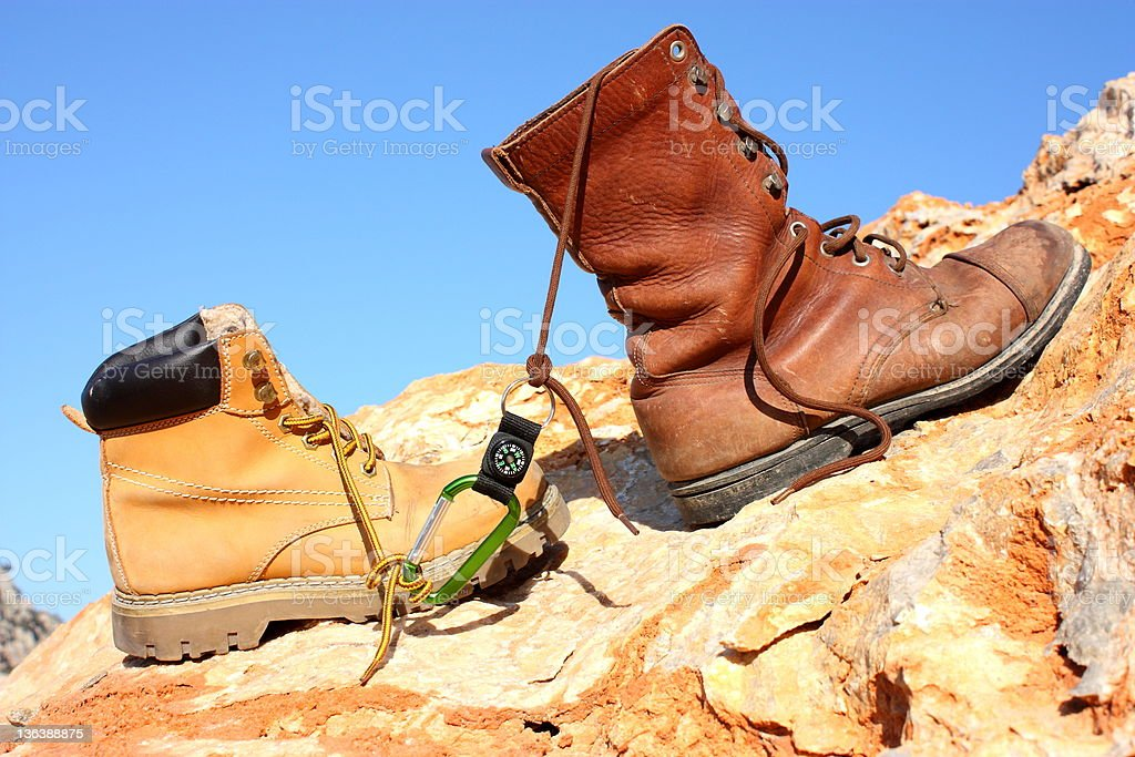 Hiking Boot and Mountain royalty-free stock photo