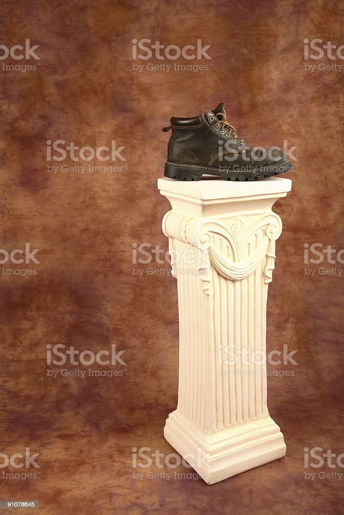 Hiking Boot On A Pedestal royalty-free stock photo