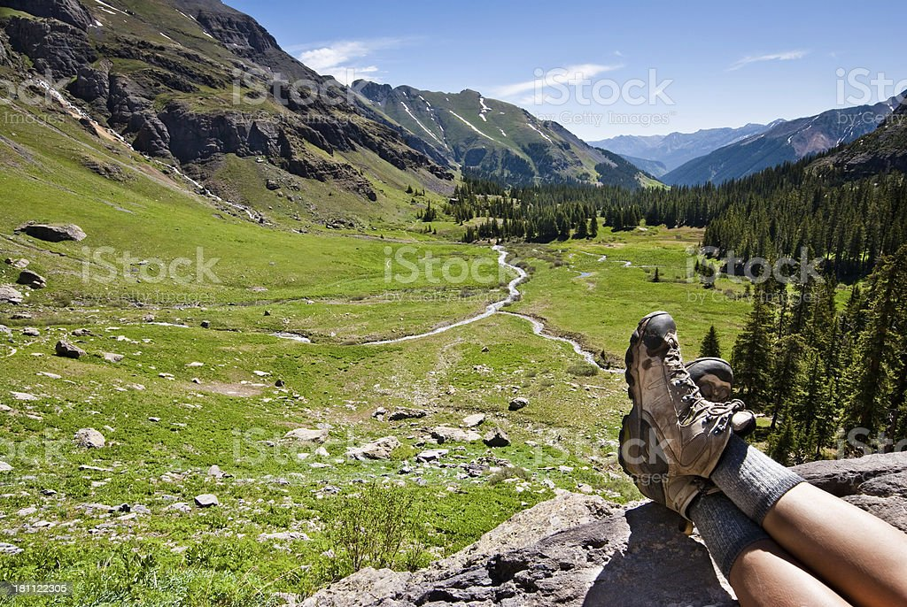 Hiking Boots Above Lower Ice Lakes Basin stock photo