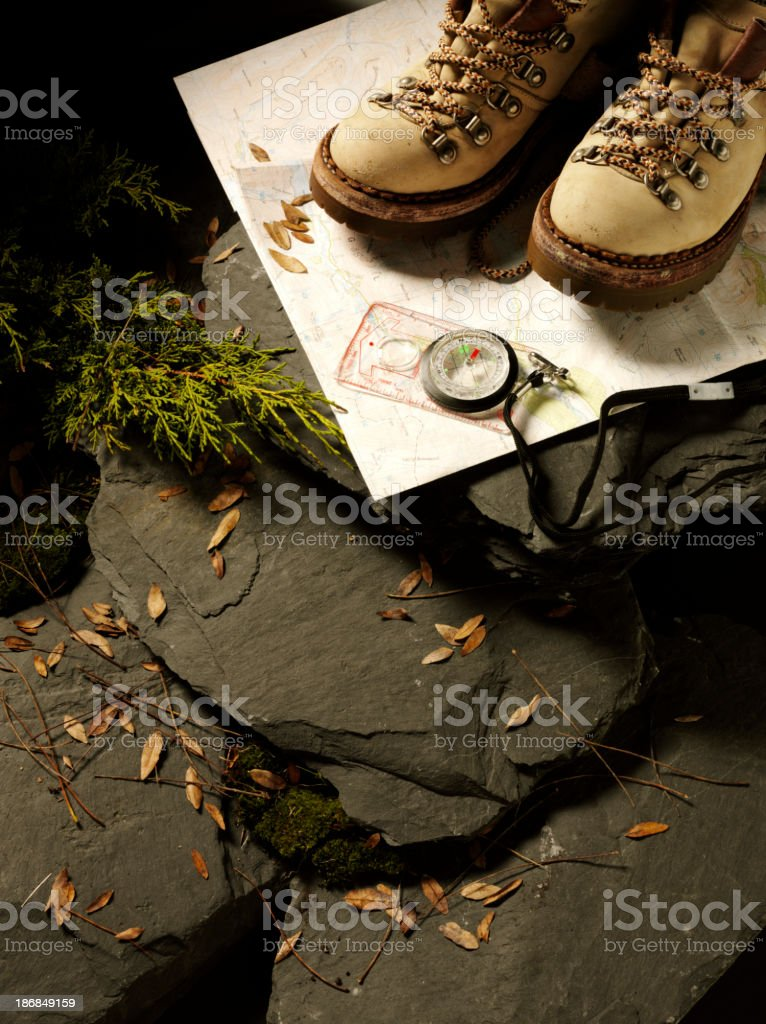 Hiking Boots and Rocks royalty-free stock photo
