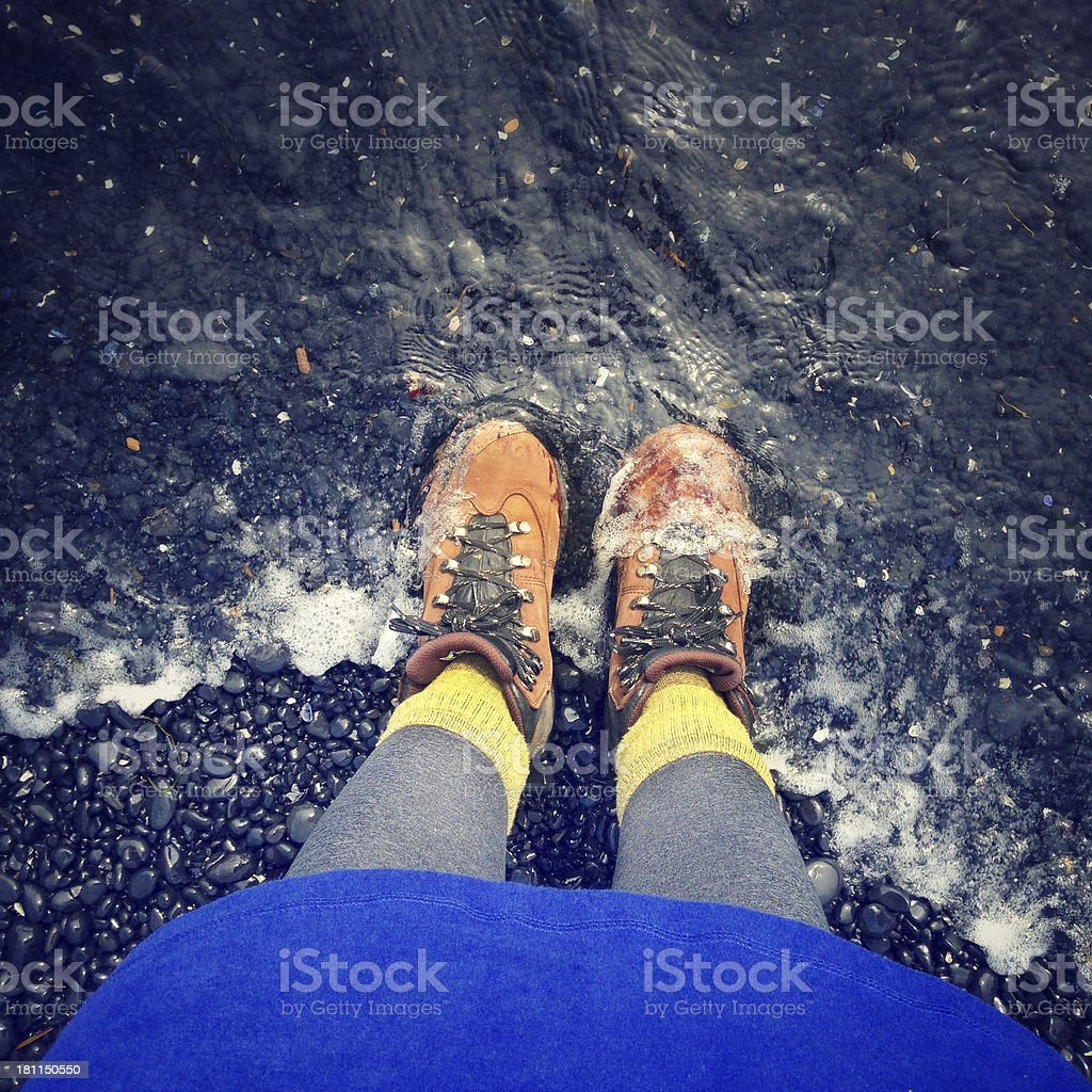 Hiking Boots and Water stock photo