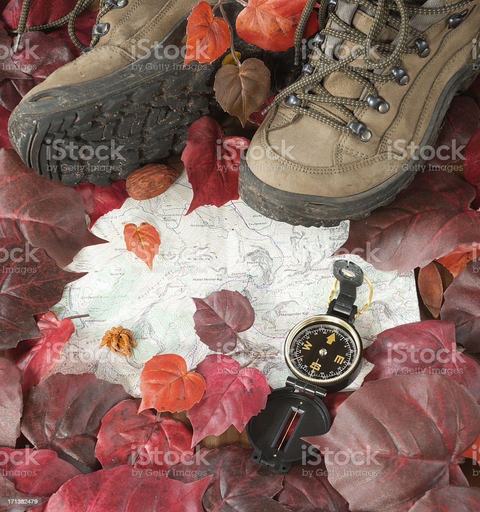 Hiking Boots, Compass, Topographic Map royalty-free stock photo