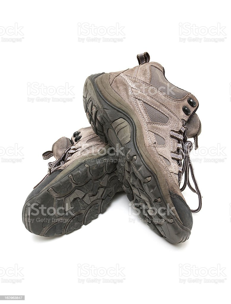 Hiking boots isolated on white background stock photo