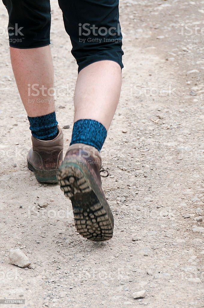 Hiking boots legs calves motion men trail walking stock photo