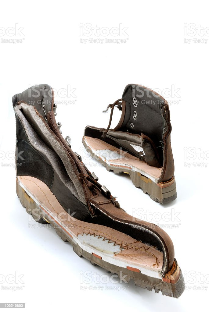 Hiking boots on white royalty-free stock photo