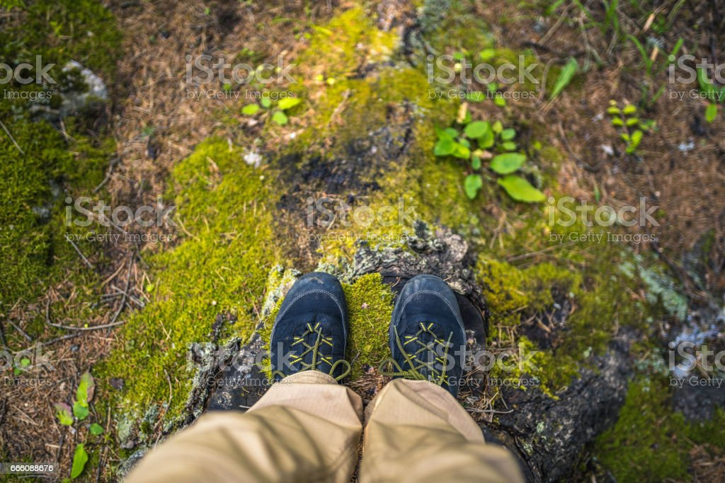 Hiking Boots. Top View stock photo