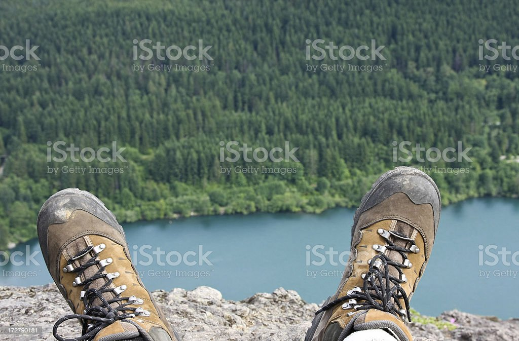 Hiking boots view royalty-free stock photo