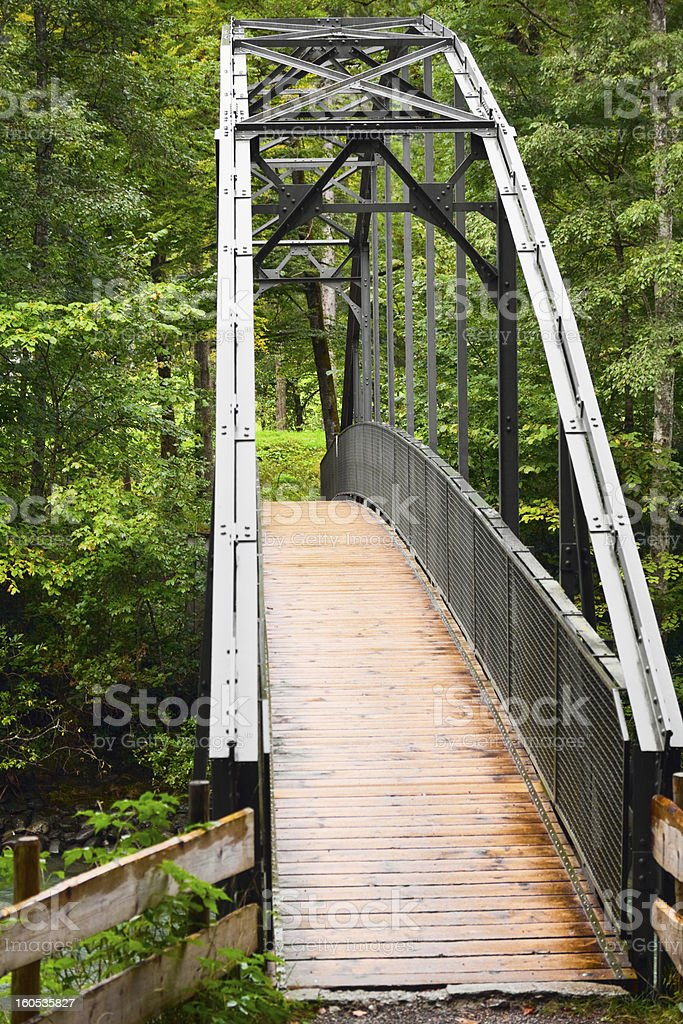 Hiking bridge stock photo