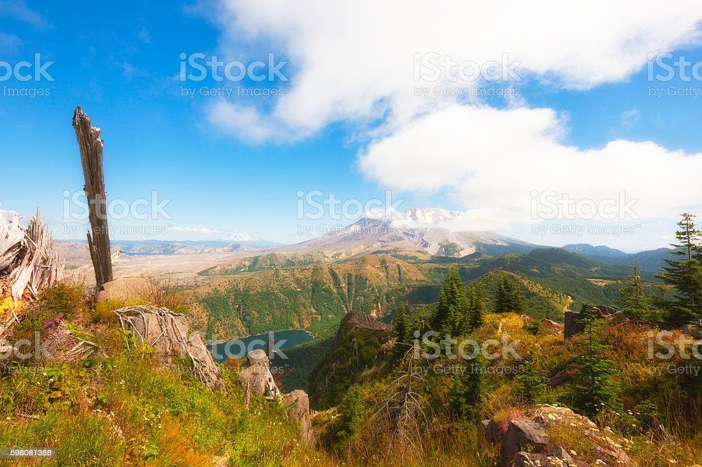 Hiking Castle Peak in Gifford Pinchot National Forest stock photo